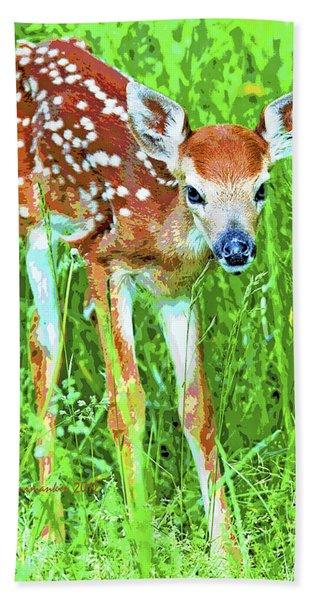 Whitetailed Deer Fawn Digital Image Bath Towel