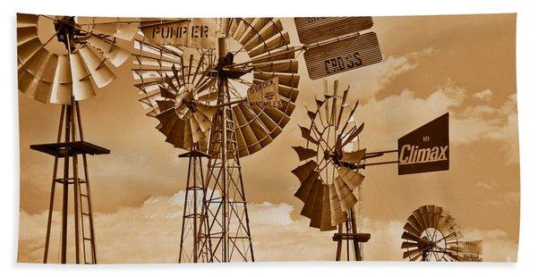 Windmills In Sepia Bath Towel