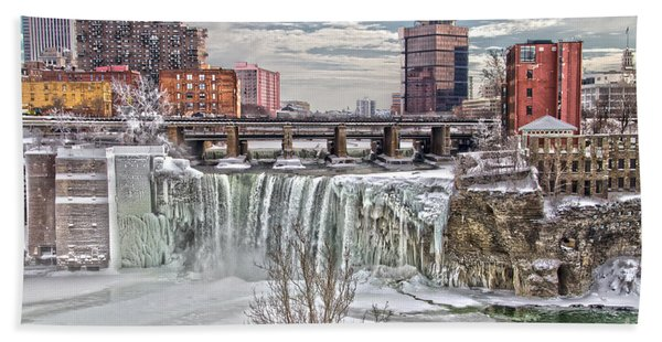 Winter At High Falls Bath Towel