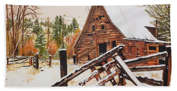 Winter - Barn - Snow In Nevada Hand Towel