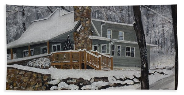 Winter - Cabin - In The Woods Hand Towel