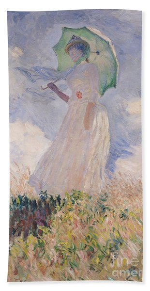 Woman With Parasol Turned To The Left Bath Towel