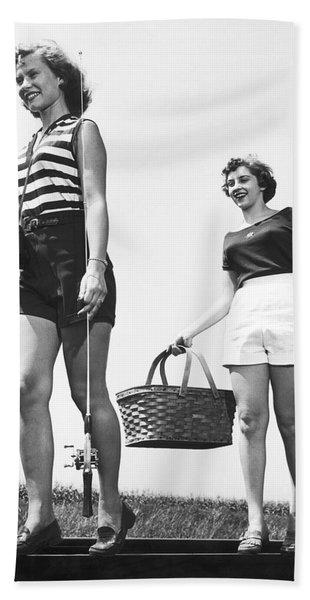Women Going Fishing Bath Towel