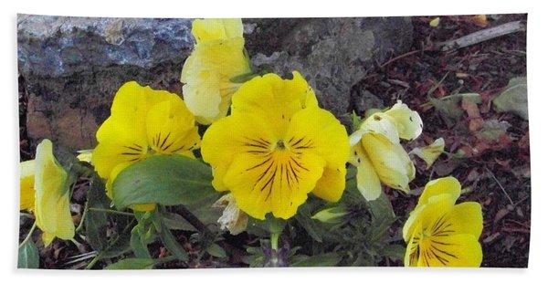 Yellow Pansies Bath Towel