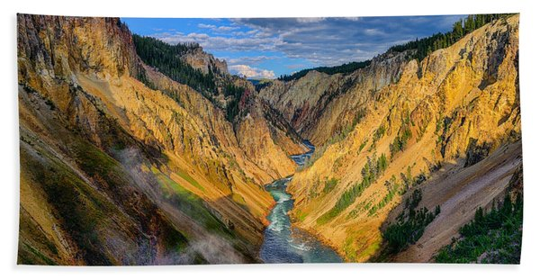 Bath Towel featuring the photograph Yellowstone Canyon View by Greg Norrell