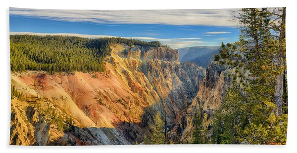 Bath Towel featuring the photograph Yellowstone Grand Canyon East View by Greg Norrell