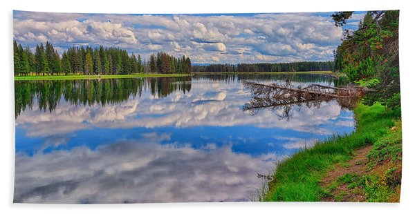 Bath Towel featuring the photograph Yellowstone River Reflections by Greg Norrell