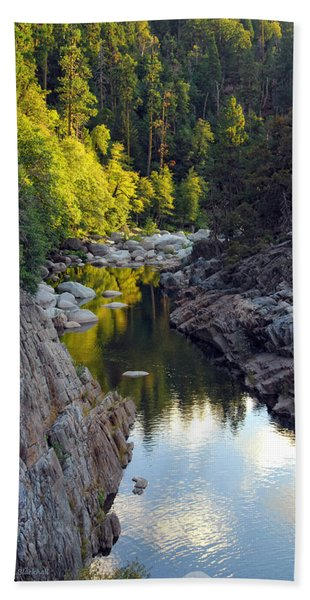 Yuba River Twilight Bath Towel