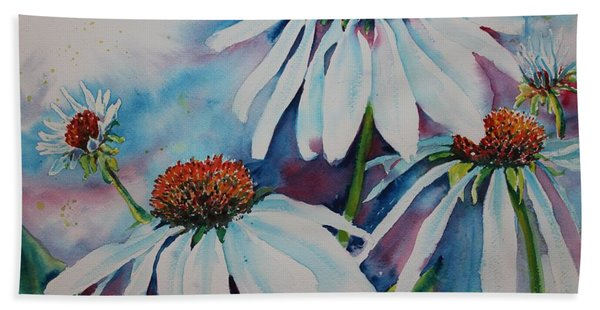Hand Towel featuring the painting Coneflower by Ruth Kamenev