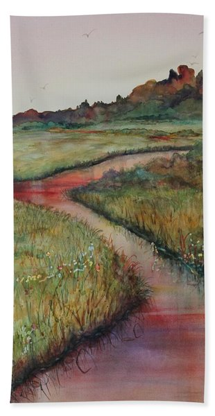 Hand Towel featuring the painting Wetlands by Ruth Kamenev