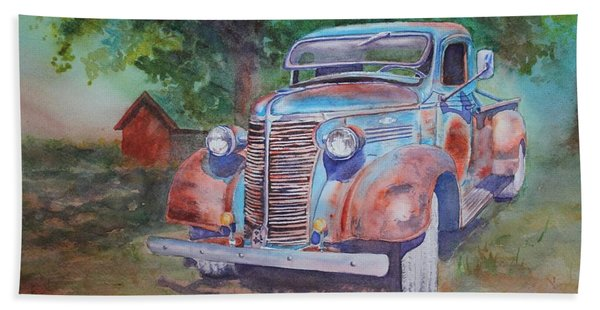 Hand Towel featuring the painting '38 Chevy by Ruth Kamenev