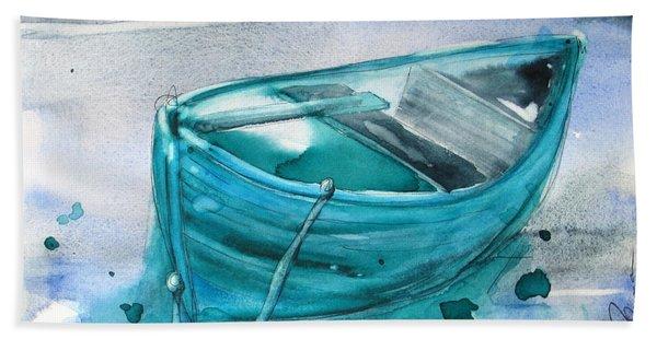 Blue Boat Hand Towel