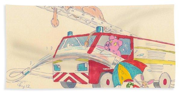 Cartoon Fire Engine And Animals Bath Towel