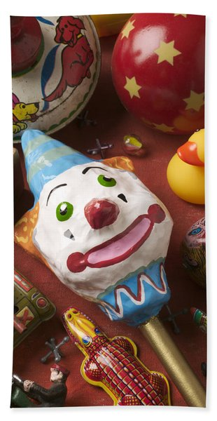 Clown Rattle And Old Toys Hand Towel