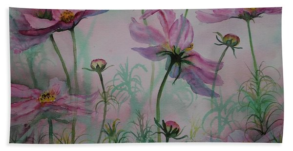 Hand Towel featuring the painting Cosmos by Ruth Kamenev