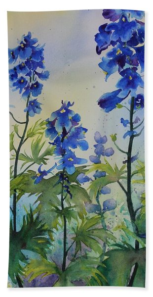 Hand Towel featuring the painting Delphiniums by Ruth Kamenev