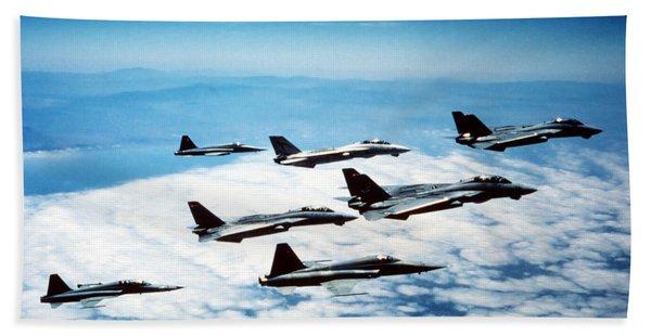 Four F-14 Tomcats And Three F-5 Tiger Bath Towel