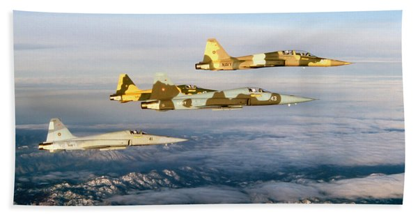 Four F-5 Tiger IIs Fly Above Southern Bath Towel