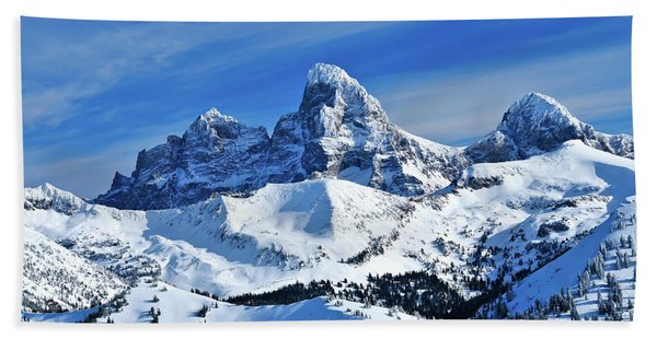 Bath Towel featuring the photograph Grand Teton Winter by Greg Norrell