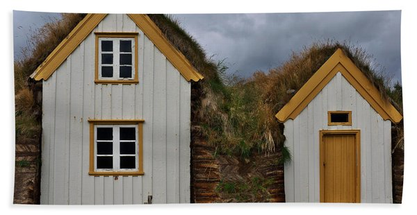 Icelandic Turf Houses Hand Towel
