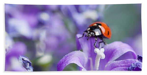 Ladybug And Bellflowers Bath Towel
