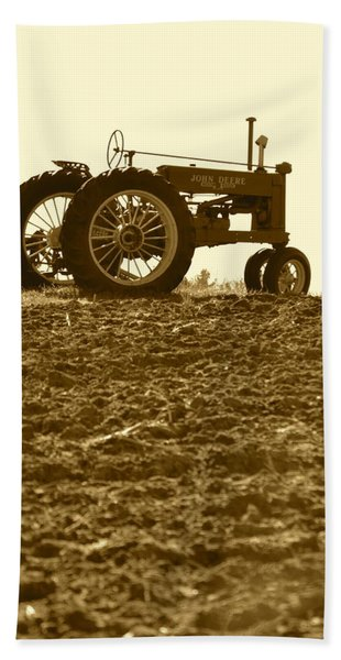 Old Tractor I In Sepia Hand Towel