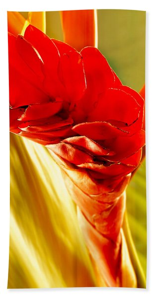 Photograph Of A Red Ginger Flower Hand Towel