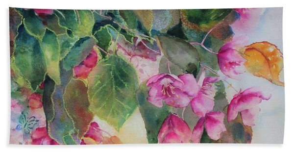 Hand Towel featuring the painting Plum Blossom by Ruth Kamenev