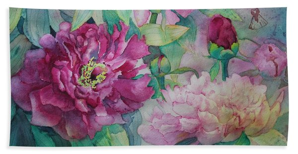Hand Towel featuring the painting Queen Of The Garden by Ruth Kamenev
