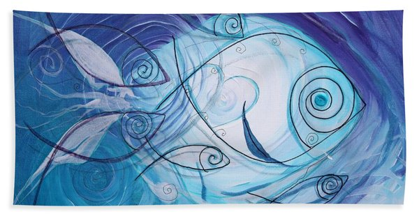 Seven Ichthus And A Heart Hand Towel