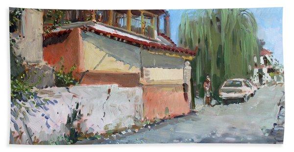 Street In A Greek Village Bath Towel