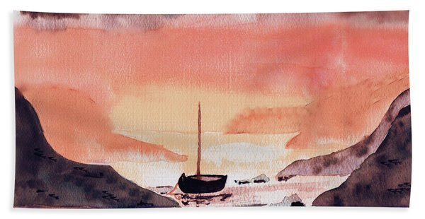 Sunset On The Water Hand Towel