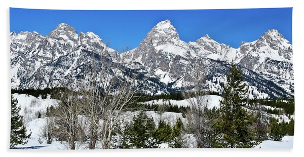 Bath Towel featuring the photograph Teton Winter Landscape by Greg Norrell