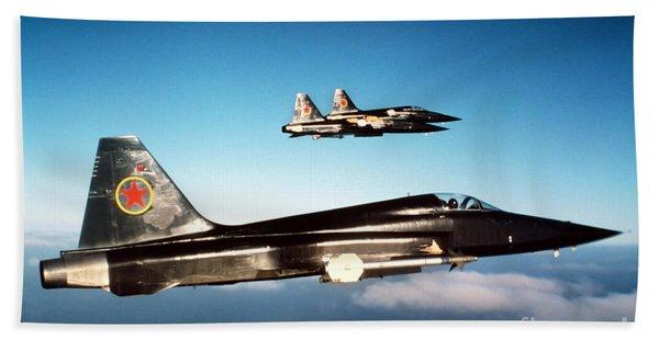 Three F-5e Tiger IIs In Flight Bath Towel