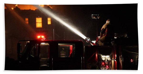 Water On The Fire From Pumper Truck Bath Towel