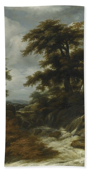 Wooded Landscape With Waterfall Hand Towel
