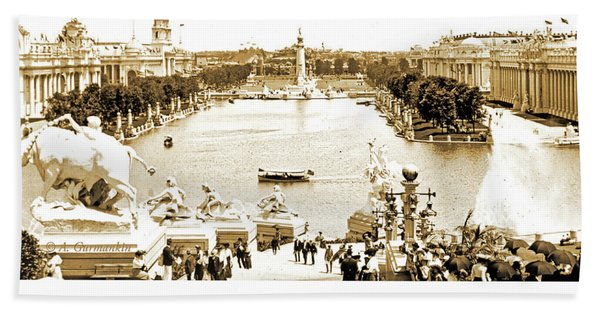 1904 World's Fair, Grand Basin View From Festival Hall Hand Towel