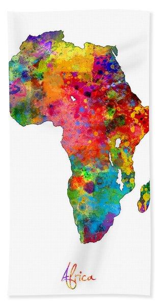 Africa Watercolor Map Hand Towel