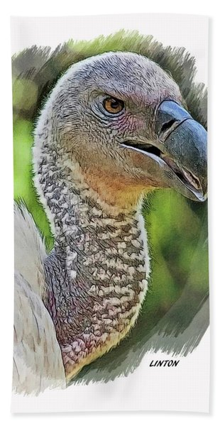 Bath Towel featuring the digital art African Griffon Vulture by Larry Linton