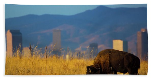 Hand Towel featuring the photograph American Bison And Denver Skyline by John De Bord