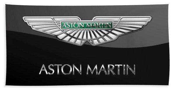Aston Martin 3 D Badge On Black  Bath Towel
