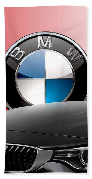 Black B M W - Front Grill Ornament And 3 D Badge On Red Bath Towel