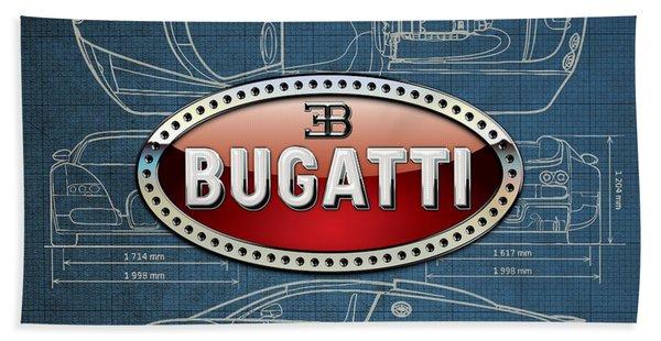 Bugatti 3 D Badge Over Bugatti Veyron Grand Sport Blueprint  Bath Towel