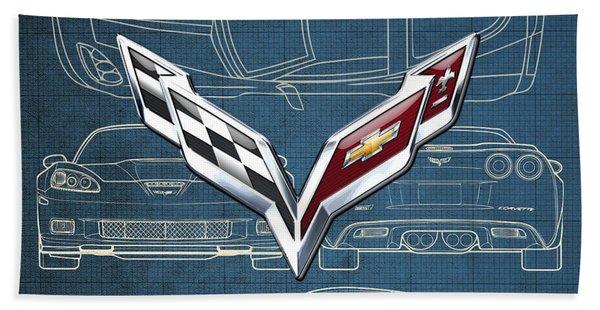 Chevrolet Corvette 3 D Badge Over Corvette C 6 Z R 1 Blueprint Bath Towel