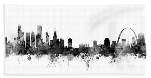 Chicago And St Louis Skyline Mashup Bath Towel
