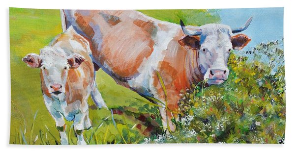 Cow And Calf Painting Bath Towel
