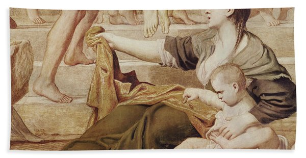 Detail Of Saint Cecilia Distributing Alms Hand Towel