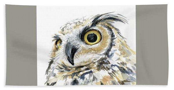 Great Horned Owl Watercolor Hand Towel