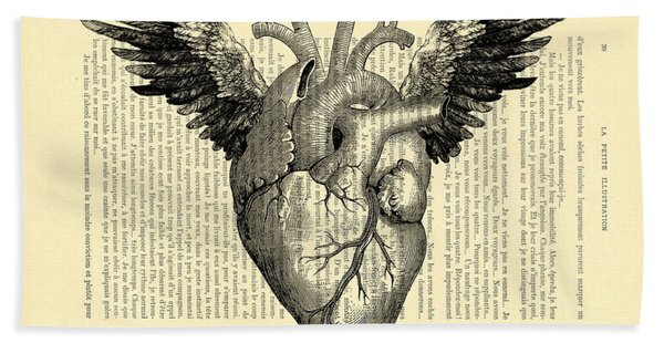 Heart With Wings Hand Towel