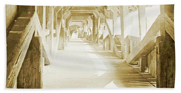 Kapell Bridge, Lucerne, Switzerland, 1903, Vintage, Photograph Bath Towel